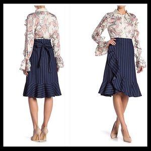 Gracia Ruffle Denim Striped Wrap Skirt NWOT Small